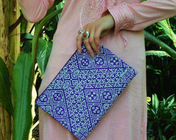 Christmas Gift Ideas, Moroccan Purple Pattern Fabric Hand Clutch Berber style-bag, tote, handbag, purse, holiday gifts, gifts for her, mum