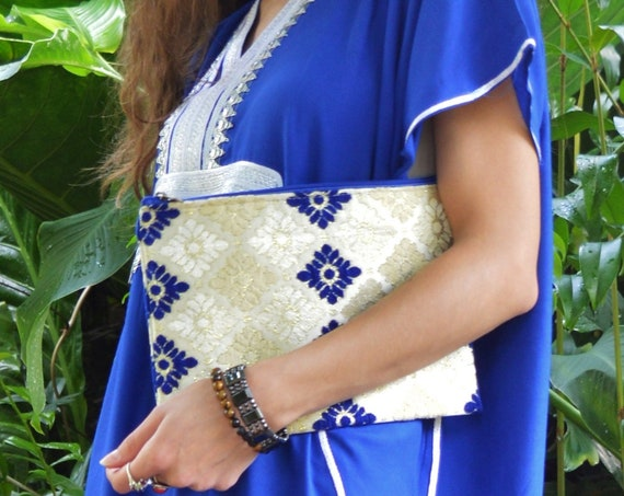 Christmas Gift Ideas, Moroccan Blue Pattern Fabric Hand Clutch Berber style-bag, tote, handbag, purse, holiday gifts, gifts for her, mum