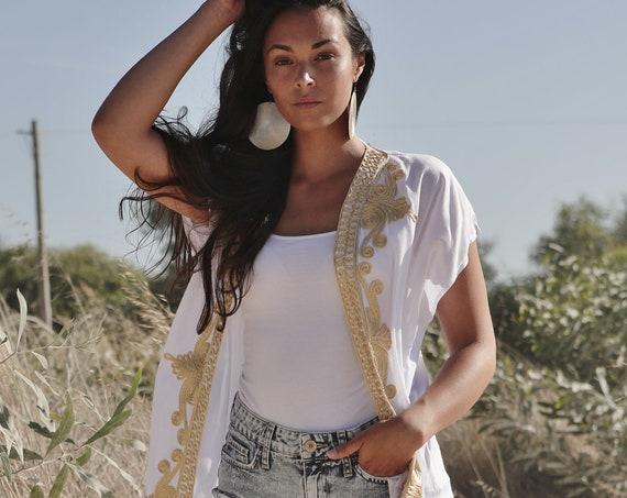 White Gold Marrakech Stay Home Kimono Kaftan-Summer Kimono, Jacket,caftan, beach caftan,Beach Kimono,robe, gown, kimono, birthday gifts