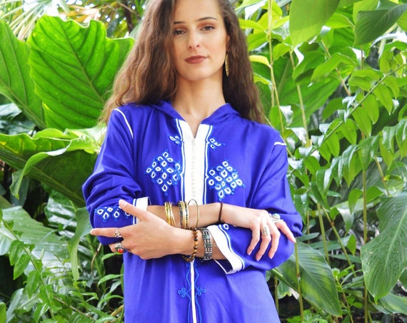 Winter Winter Sale//Blue Jelleba Hoodie Marrakech Bohochic Kaftan Caftan, Embroidered kaftan,Embroidered Dress,winter dress,chirstmas gifts