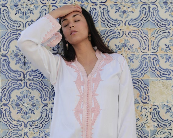 White with Pink Kaftan Clothing Warda Moroccan Caftan Kaftan -maxi, resort, beach cover up,Moroccan, Maternity Gifts,summer dress, beach