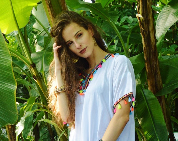 White Tassels Resort Caftan Kaftan -loungewear,as beachwear, beach cover ups, resort wear, gift  moms, Ramadan, Eid,beach kaftan, gifts