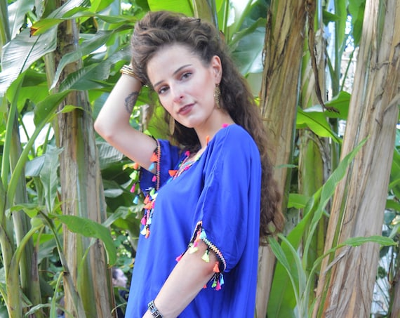 Blue Tassels Resort Caftan Kaftan -loungewear,as beachwear, beach cover ups, resort wear, gift  moms, Ramadan, Eid,beach kaftan, gifts