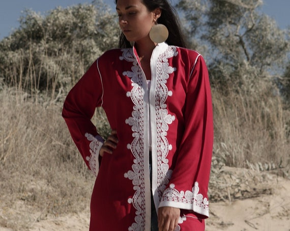 Cotton Red Kimono Jacket Moroccan Embroidery with hooks-boho wear, birthday gifts, bohemian jacket, velvet, mother's day, dress