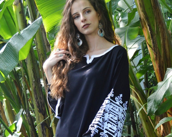 Autumn Black Floral Zina Marrakech Bohochic Kaftan Caftan, Autumn Dress, Embroidered kaftan, Embroidered Dress, Eid, winter dress