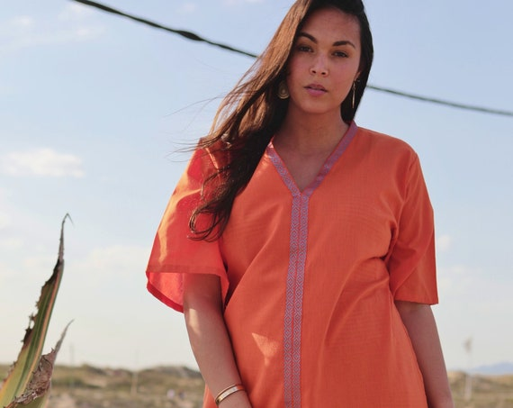 Spring Summer Clothing Orange Zelij Moroccan Caftan Kaftan -maxi, resort, beach cover up,Maternity Gifts,Easter gifts, Ramadan, beach kaftan