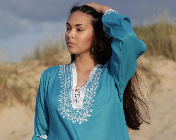 Turquoise Blue Dress Marrakech White Boho Tunic -loungewear, resortwear, embroidery top, Marrakech Tunic, dress, beach top, cover up