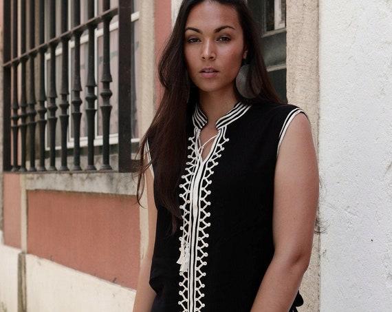 Black &White Tunic- Zizi Embroidery Moroccan tunic, beach wedding,stayhome wear, shirt, blouse, holiday tunic, birthday gifts