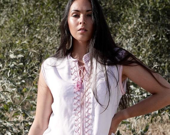 White Pink Tunic- Zizi Embroidery Moroccan tunic, beach wedding,stayhome wear, shirt, blouse, holiday tunic, birthday gifts