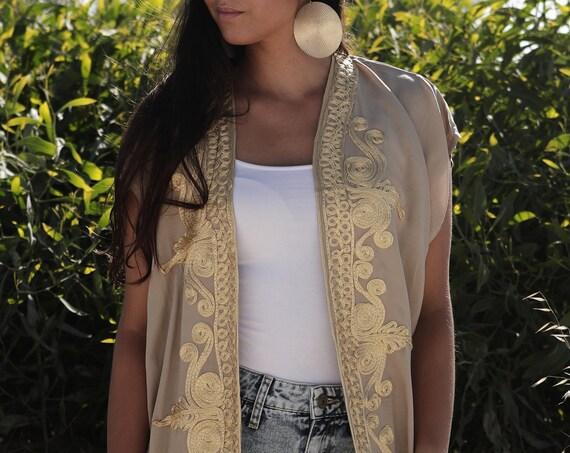 Beige Gold Marrakech Kimono Cover up-Summer kimono, Jacket, Beach Kimono, Bohemian, Moroccan kimono, robe, gown, boho kimono, birthday gifts