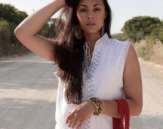 White Silver Tunic- Zizi Embroidery Moroccan tunic, beach wedding,stayhome wear, shirt, blouse, holiday tunic, birthday gifts