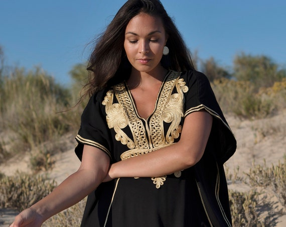 Spring Eid Black Gold Marrakech Resort Caftan Kaftan - beach cover ups, resortwear, giftswear, maxi dresses,  gifts, Christmas gift
