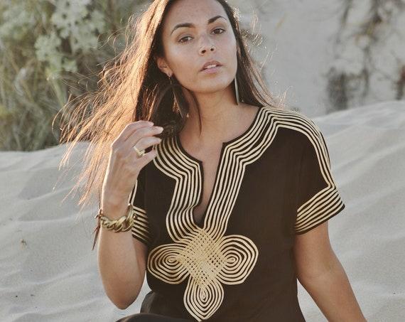 Summer Black Moroccan Caftan Kaftan -Habibti- giftswear,resortwear,beach cover up, Maternity Gifts, dress, stayhome wear, lounge wear