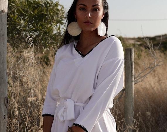 Autumn White Tunic Dress Embroidery-Rabat- perfect   gifts,resort wear,  wear,  wear, boho dresses, dress,,,,Ramadan,Easter