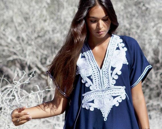 Spring Kaftan, Caftan, Navy Blue & Silver, Marrakech Kaftan -beach kaftan,resortwear,loungewear, , maternity kaftan, wedding kaftan, dress,