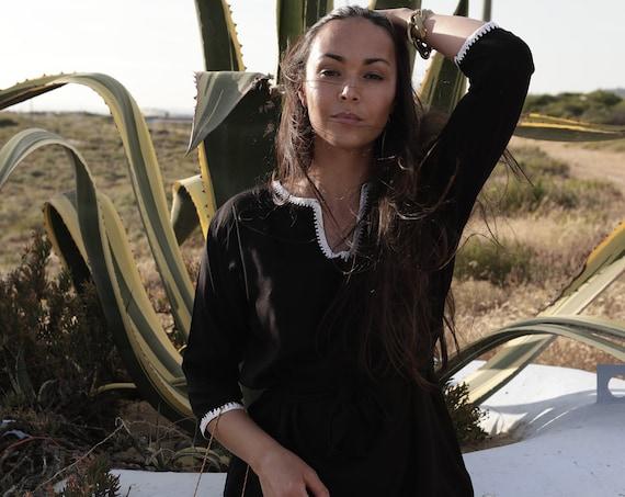 Summer Black Moroccan Tunic Dress-Rabat-beachwear, resort dress, summer dress, gifts, stay home wear, dresses, holiday dresses