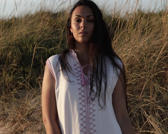 Kaftan//White Baby PinkKaftan-Zizi Caftan,Lounge Dress,  Dress, Bohemian Clothing, Maternity Dress, beach, stay home wear