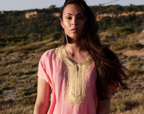 Kaftan Moroccan Boho Salmon Pink Resort Caftan Fez-Kaftan,beach coverup,loungewear,maxi dress, birthdays, honeymoon, maternity, eid gifts
