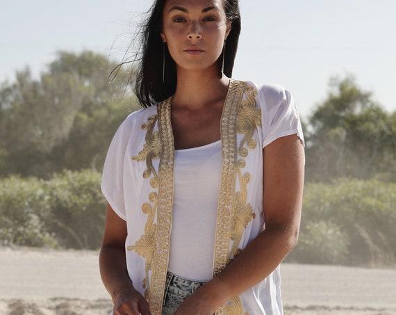 NEW White Gold Marrakech Stay Home Kimono Kaftan-Winter Kimono, Jacket,caftan, beach caftan,Beach Kimono,robe, gown, kimono, birthday gifts