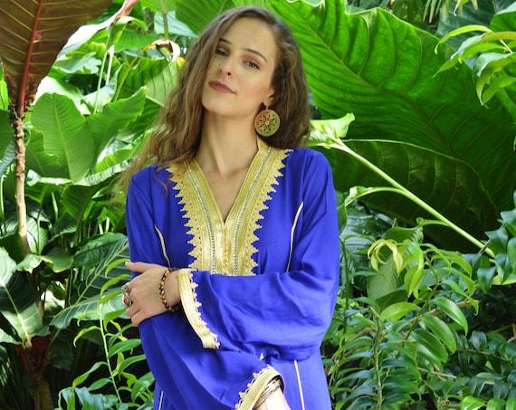 Spring Kaftan, Blue Gold Naima Kaftan- caftan,resortwear, beach cover ups, birthday gifts, moroccan kaftan, Ramadan, Eid,  gifts