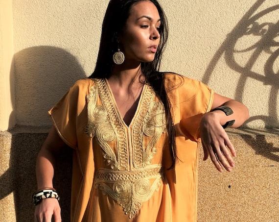 Autumn Winter Kaftan-Moroccan Yellow Gold Beach Caftan -beach cover up, resortwear wear, maternity, birthday, wedding gifts,stayhome wear