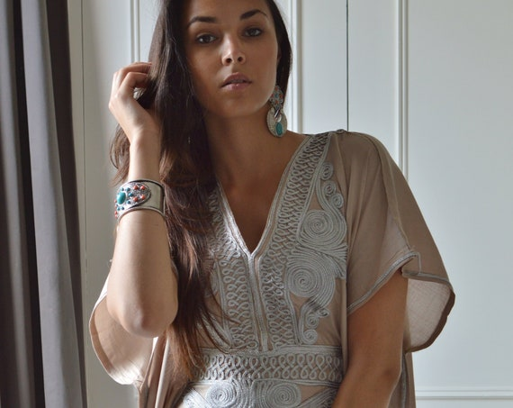 Spring Kaftan. Moroccan Beige Beach Caftan -beach cover up, resortwear wear, maternity wear, birthday, wedding gifts, brides kaftan, gifts
