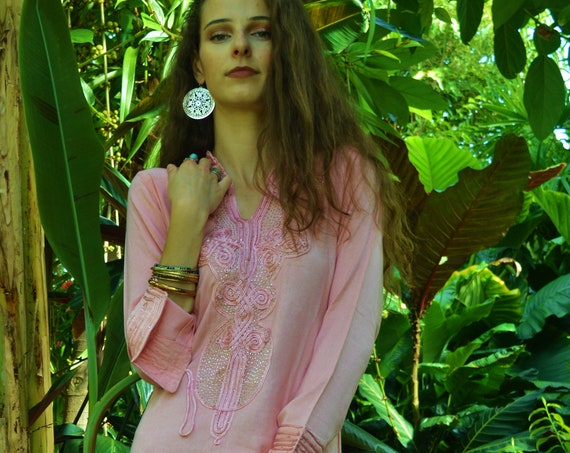 Spring Spring Sale//Champagne Pink Aisha Marrakech Bohochic Kaftan Caftan, Embroidered kaftan,Embroidered Dress,Spring dress,chirstmas gifts