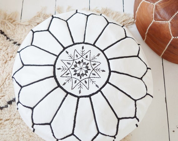 Best Gift Spring 30% OFF Pouf Sale>White Moroccan Leather Pouf Tassels & Pompoms>decor, wedding gift,foot stool,  gift,