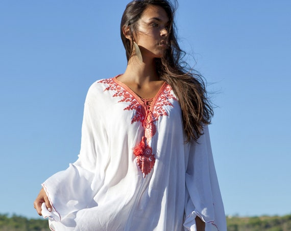 White Orange Agadir Embroidery Beach Wedding Gown Caftan Kaftan -cover ups, beach wedding, resortwear,maxi dress, , maternity gift,