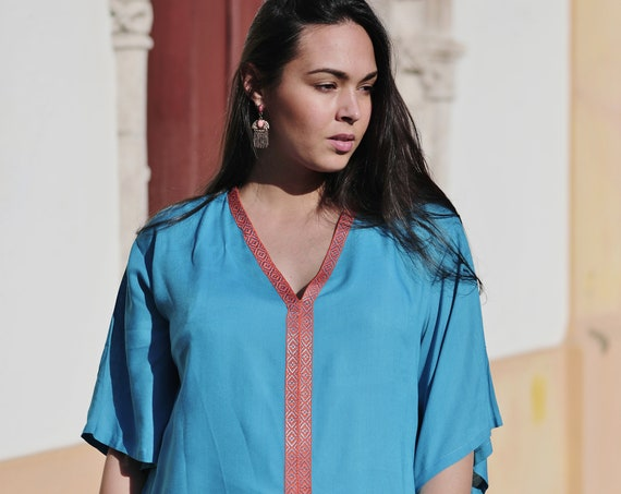 Winter Winter  Clothing Turquoise Blue Zelij Moroccan Caftan Kaftan -maxi,beach cover up,Maternity Gifts, gifts, Ramadan, beach kaftan