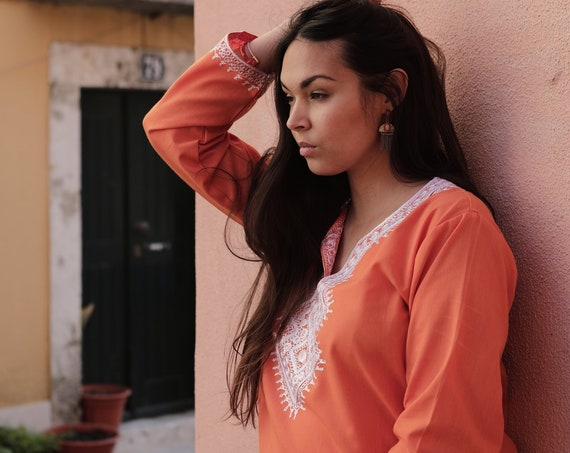 Spring Spring  Tunic Asmahan Orange Embroidery Tunic-resortwear, , beach wedding, bridesmaid gifts, embroidered shirt, , Eid, dress,