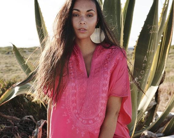 Pink Caftan Kaftan Berber -Lounge wear,resort kaftan, baby shower gifts, maternity kaftan,nursing gown, maternity, christmas gifts