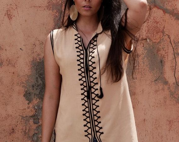 Beige & Black Tunic- Zizi Embroidery Moroccan tunic, beach wedding,stayhome wear, shirt, blouse, holiday tunic, birthday gifts