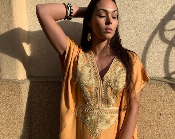 Autumn Winter Kaftan Moroccan Yellow Gold Beach Caftan -beach cover up, resortwear wear, maternity wear, birthday, wedding gifts,stayhome