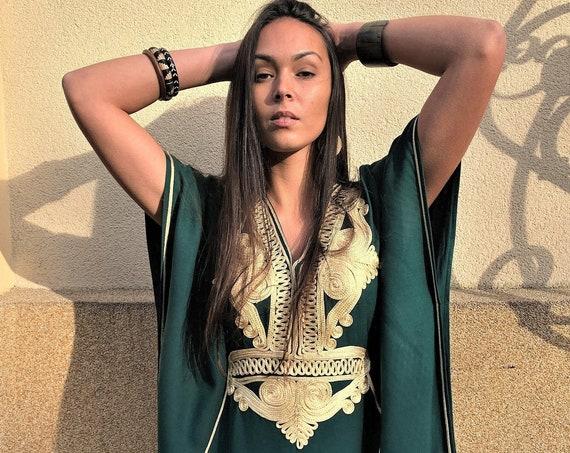 Autumn Kaftan Dress Moroccan Green Gold Beach Caftan-beach cover up, resortwear wear, maternity wear, birthday, wedding gifts, brides kaftan