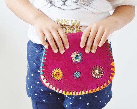 Kids Pink Shoulder Bag-Moroccan Satchel Cross Shoulder Straps Berber style-bag, tote, handbag, purse, gifts,  gifts,,Ramadan,Easter