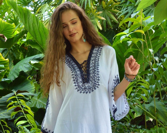 Winter Christmas gift Winter White Navy Blue Marrakech Tunic Dress,loungewear, resortwear, bohemian clothing, embroidery top, winter dress