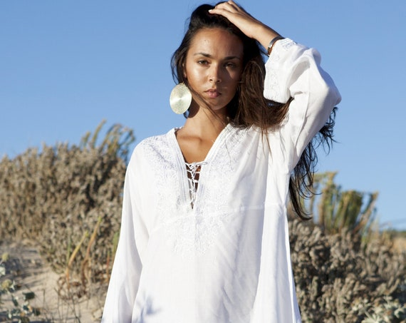 Spring White Tunic Embroidered Dress-gifts, beach, resort, holiday, bohemian wear, boho, Moroccan, dress, chirstimas gifts