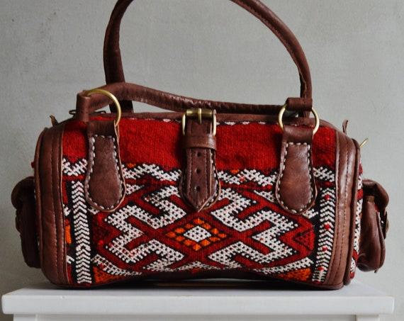 Spring Shoulder bag-Trendy  Finds Moroccan Red Kilim Leather Satchel Cross Shoulder Straps Berber style-bag, tote, handbag, purse, gifts