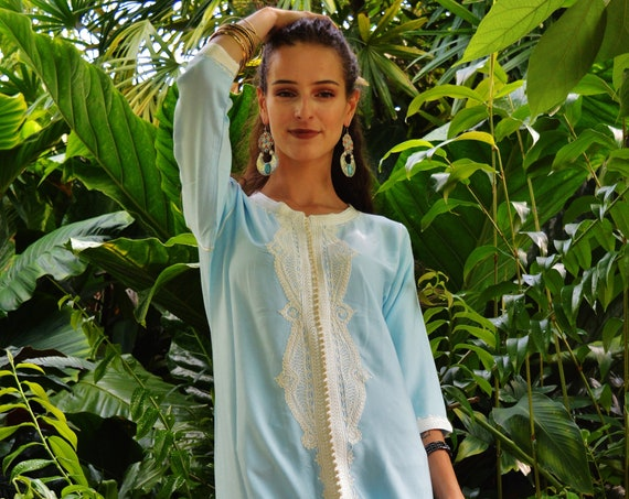 Winter Kaftan, Sky Blue Lella Kaftan- caftan,resortwear, beach cover ups, birthday gifts, moroccan kaftan, Ramadan, Eid, christmas gifts