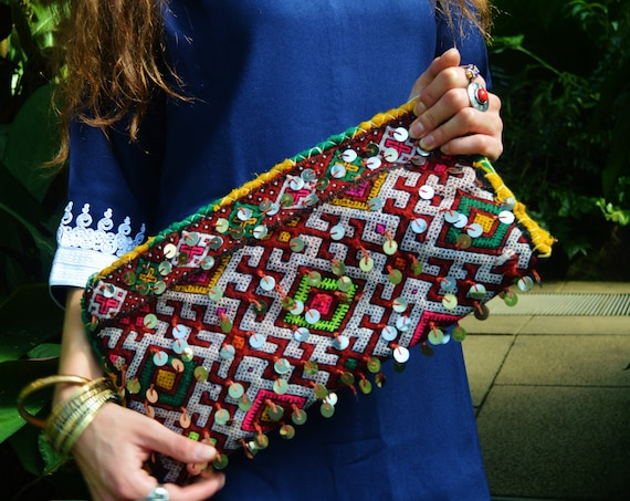Red Spring Moroccan Sequins Kilim Hand Clutch with Shoulder Straps Berber style-bag, tote, handbag, purse, weekender,gifts,  gifts