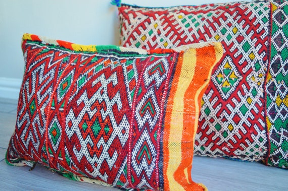 Decor Vintage Moroccan Boho Pattern Kilim Berber Carpet Cushions No.D -lumbar, vintage cushions, covers, gifts, rug ,Christmas gifts