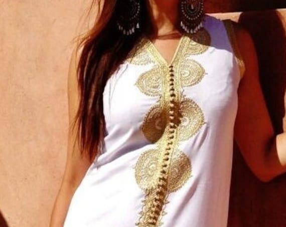 White Kaftan Moroccan Non Sleeve Kaftan Caftan-Kenza, Caftan, resort wear, cover up,beach wedding, resort kaftan, christmas gifts