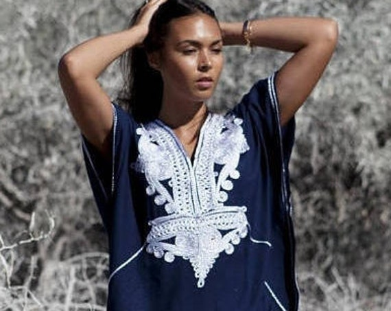 Kaftan dress, Caftan, 25% OFF //Navy Blue &Silver Boho Marrakech, Beach dress,beach cover ups, resortwear, eid, xmas gift,Valentine's day
