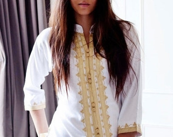 Kaftan Sale 20% Off/  Boho| Handmade White & Gold Moroccan Tunic-perfect for birthday gifts, beach, resort wear, honeymoon gifts, bohe