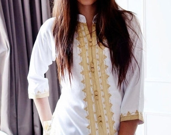 Handmade White & Gold Moroccan Tunic-perfect  birthday gifts, beach, resort wear, honeymoon gifts, bohemian,boxing day sale,Autumn dress