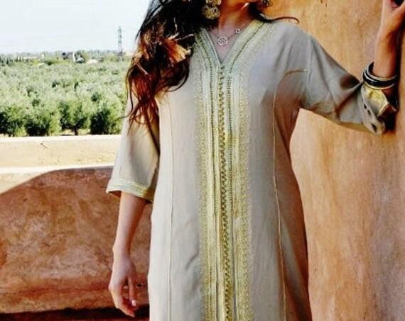 Beige Caftan Maxi Dress- Naima Style-loungewear,resortwear,spa robe, great for Christmas, Birthdays,Honeymoon or Maternity Gifts