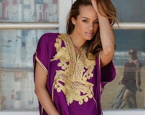 Summer Kaftan 10% OFF // Royal Purple Gold Marrakech Resort Caftan Kaftan -beach cover ups, resortwear,loungewear, maxi dresses, birthd