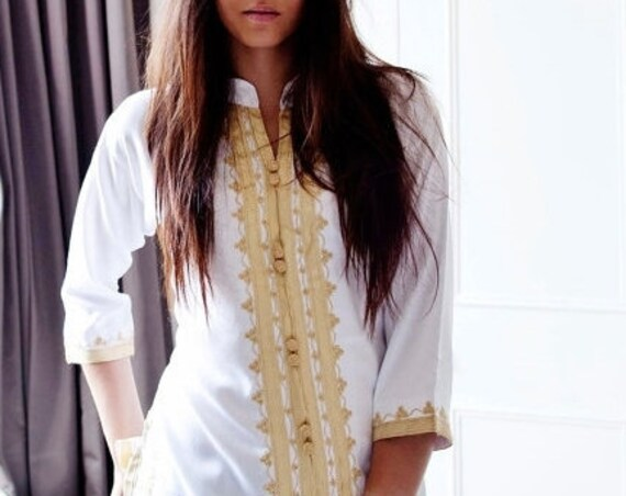 Kaftan Sale 20% Off/ Summer boho| Handmade White & Gold Moroccan Tunic-perfect for birthday gifts, beach, resort wear, honeymoon gifts, bohe