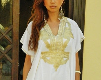 Kaftan Sale 20% Off/ Resort Caftan Kaftan Marrakech Style- White with Gold Embroidery, great for beach cover ups, resort wear, loungewear, k